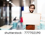 young cool man with a placard | Shutterstock . vector #777702190