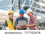 asian engineers group consult... | Shutterstock . vector #777702478