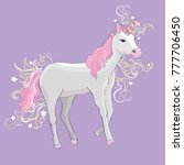 unicorn icon isolated on white. ... | Shutterstock . vector #777706450