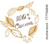 cocoa logo with lettering hand... | Shutterstock .eps vector #777706840