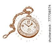 ancient pocket watch  vector... | Shutterstock .eps vector #777708574