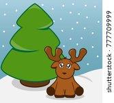 baby reindeer and christmas tree | Shutterstock .eps vector #777709999