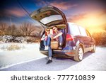 winter trip and two lovers in... | Shutterstock . vector #777710839