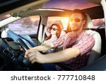 winter trip and two lovers in...   Shutterstock . vector #777710848