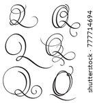 set of art calligraphy letter q ... | Shutterstock . vector #777714694