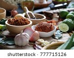assortment of thai food cooking ...   Shutterstock . vector #777715126