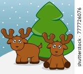cute baby reindeer with... | Shutterstock .eps vector #777726076
