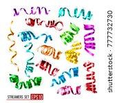 festive colorful ribbons on... | Shutterstock .eps vector #777732730