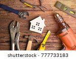 wooden white house toy and... | Shutterstock . vector #777733183