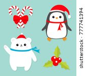 merry christmas icon set. candy ... | Shutterstock . vector #777741394