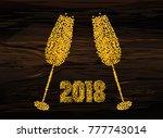 christmas   golden figures in... | Shutterstock .eps vector #777743014