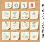2018 modern calendar template ... | Shutterstock .eps vector #777745078