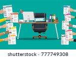 office chair  sign vacancy.... | Shutterstock .eps vector #777749308