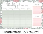 weekly planner with pink... | Shutterstock .eps vector #777753694