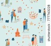 valentine's day vector seamless ... | Shutterstock .eps vector #777763228