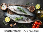 fresh fish seabass and... | Shutterstock . vector #777768553