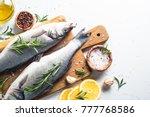 fresh fish seabass. raw fish... | Shutterstock . vector #777768586
