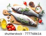 fresh fish seabass. raw fish... | Shutterstock . vector #777768616