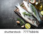 fresh fish seabass and... | Shutterstock . vector #777768646