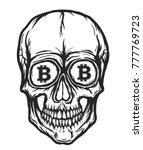 skull with bitcoin symbols   Shutterstock .eps vector #777769723