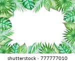 watercolor frame with leaves of ... | Shutterstock . vector #777777010