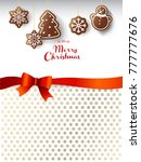 hanging gingerbread sweets with ... | Shutterstock .eps vector #777777676