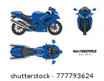Blue Motorcycle In Realistic...
