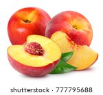 peach fruit slice with leaf... | Shutterstock . vector #777795688