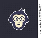 ape  smart monkey in glasses... | Shutterstock .eps vector #777796720