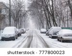 heavy snowfall on the city...   Shutterstock . vector #777800023