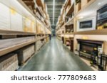 blurred view of shelves with... | Shutterstock . vector #777809683