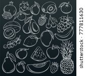 set hand drawn fruits and... | Shutterstock .eps vector #777811630