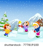 in the winter  kids play in the ... | Shutterstock .eps vector #777819100