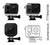 set of action camera icons in... | Shutterstock .eps vector #777846538