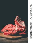 various raw meat on wooden... | Shutterstock . vector #777846676