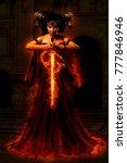 gothic queen in red dress doing ... | Shutterstock . vector #777846946