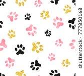 dog paw print seamless pattern...   Shutterstock .eps vector #777850168