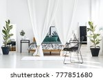 canopied bed with white cloth... | Shutterstock . vector #777851680