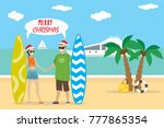 cartoon caucasian couple in red ... | Shutterstock .eps vector #777865354
