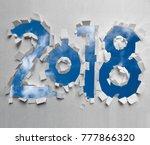textured paper cut 2018 number | Shutterstock . vector #777866320