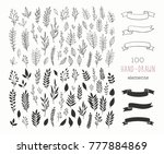 set of vector hand drawn floral ... | Shutterstock .eps vector #777884869
