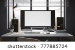 workspace mockup on dark... | Shutterstock . vector #777885724