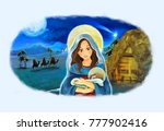 cartoon scene with mary and... | Shutterstock . vector #777902416