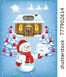 christmas card with funny... | Shutterstock .eps vector #777902614