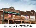 """Small photo of Ridgway, Colorado - May 9, 2015: The True Grit Cafe was built to honor the filming of the academy award winning movie """"True Grit"""" starring John Wayne."""