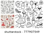 set of hand drawn beauty objects | Shutterstock .eps vector #777907549