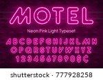 neon light alphabet  realistic... | Shutterstock .eps vector #777928258