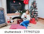 beautiful caucasian blond woman ... | Shutterstock . vector #777937123