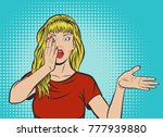 beautiful blond woman in red t... | Shutterstock .eps vector #777939880