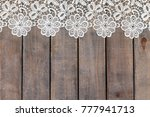 cotton lace tablecloth on... | Shutterstock . vector #777941713